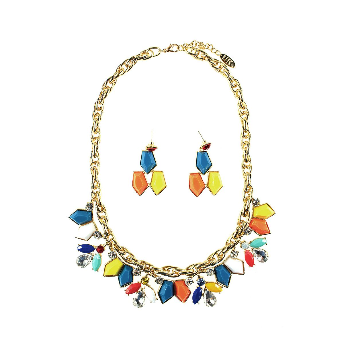 Shapes and Chain Necklace Set - Gold/Multi (YC1409013)