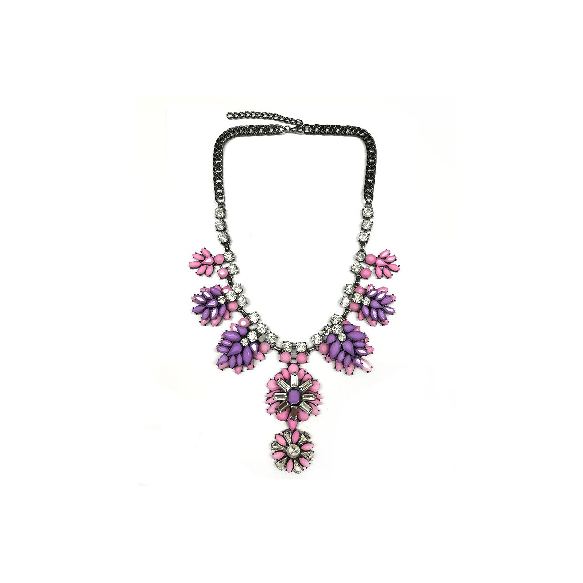 Flower Necklace - Black/Lilac (NH1409008LL)