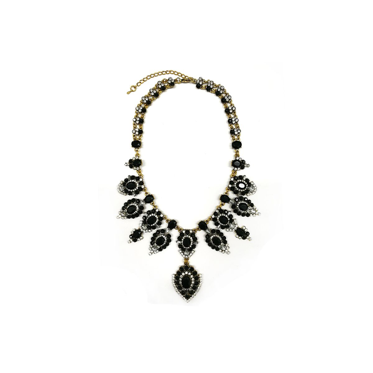 Floral Stone Necklace - Gold/Black (NH1409018BK)
