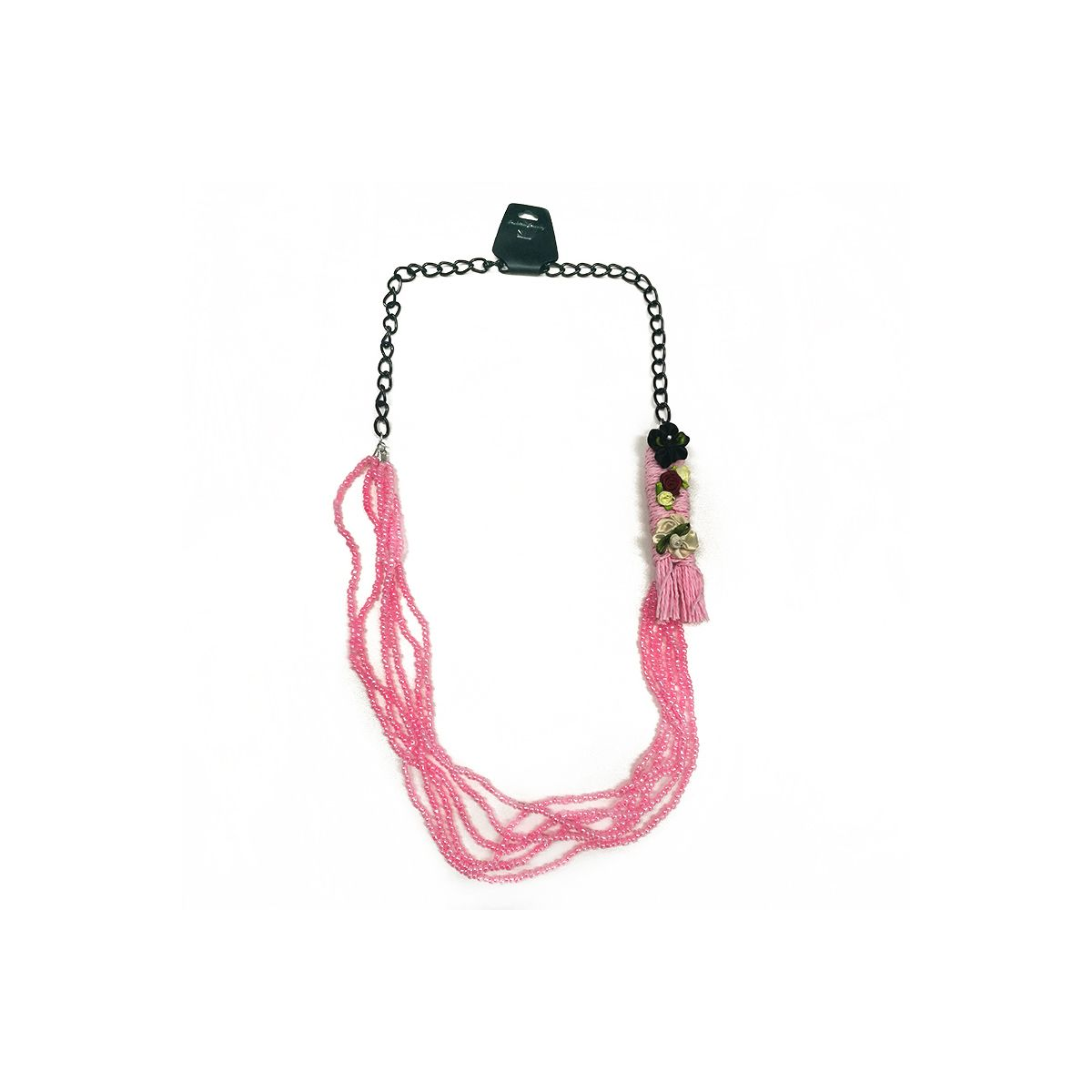 Floral Chain Beaded Necklace - Black/Pink (OLD110117PK)