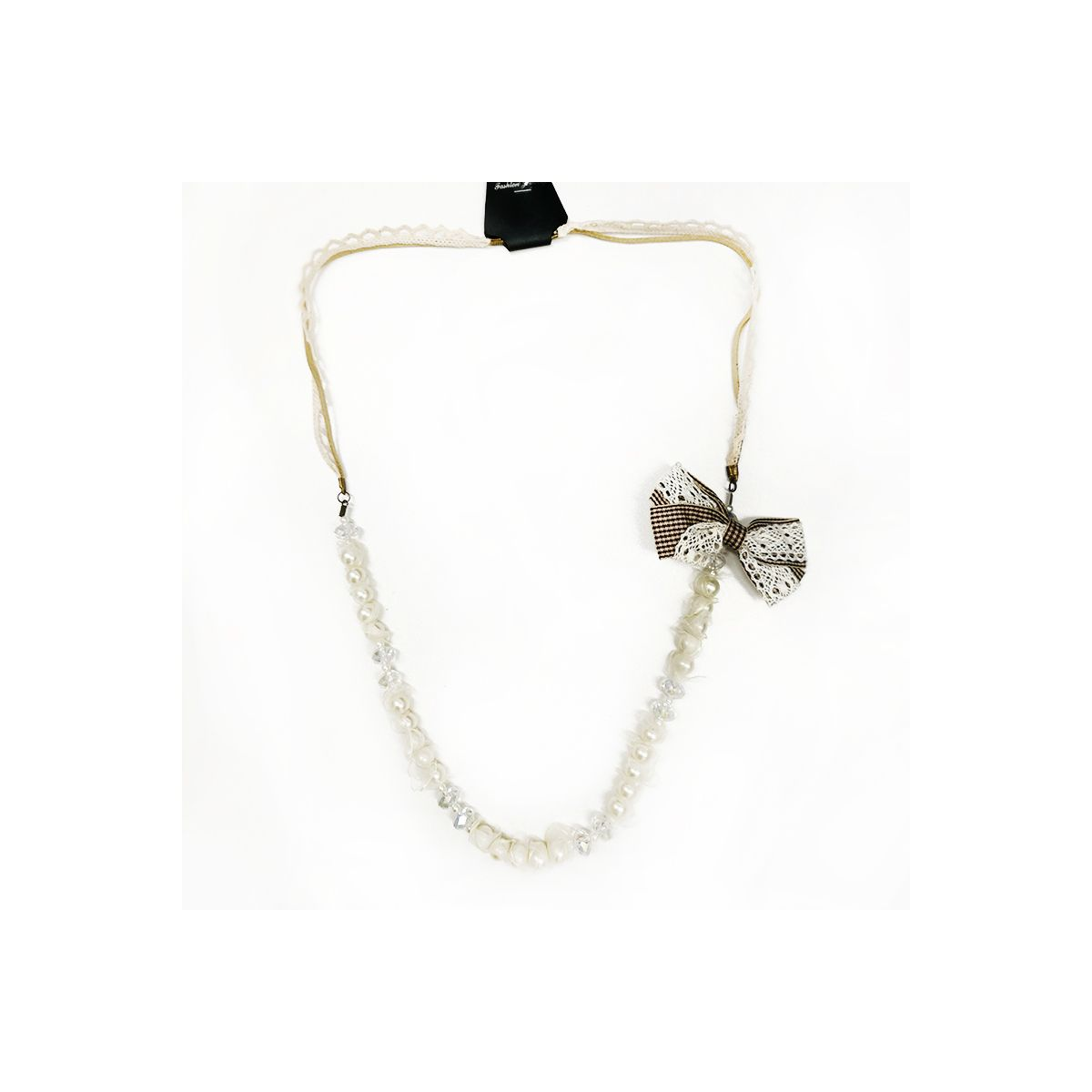 Beaded Pearl Long Necklace With Bow - White (OLD110124WT)