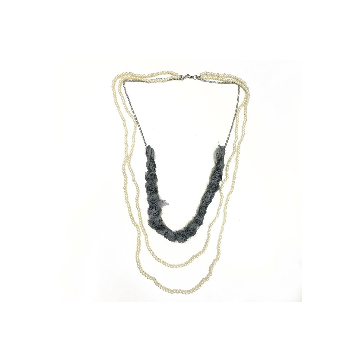 Pearl Triple Chain Long Necklace - Grey (OLD110132GY)