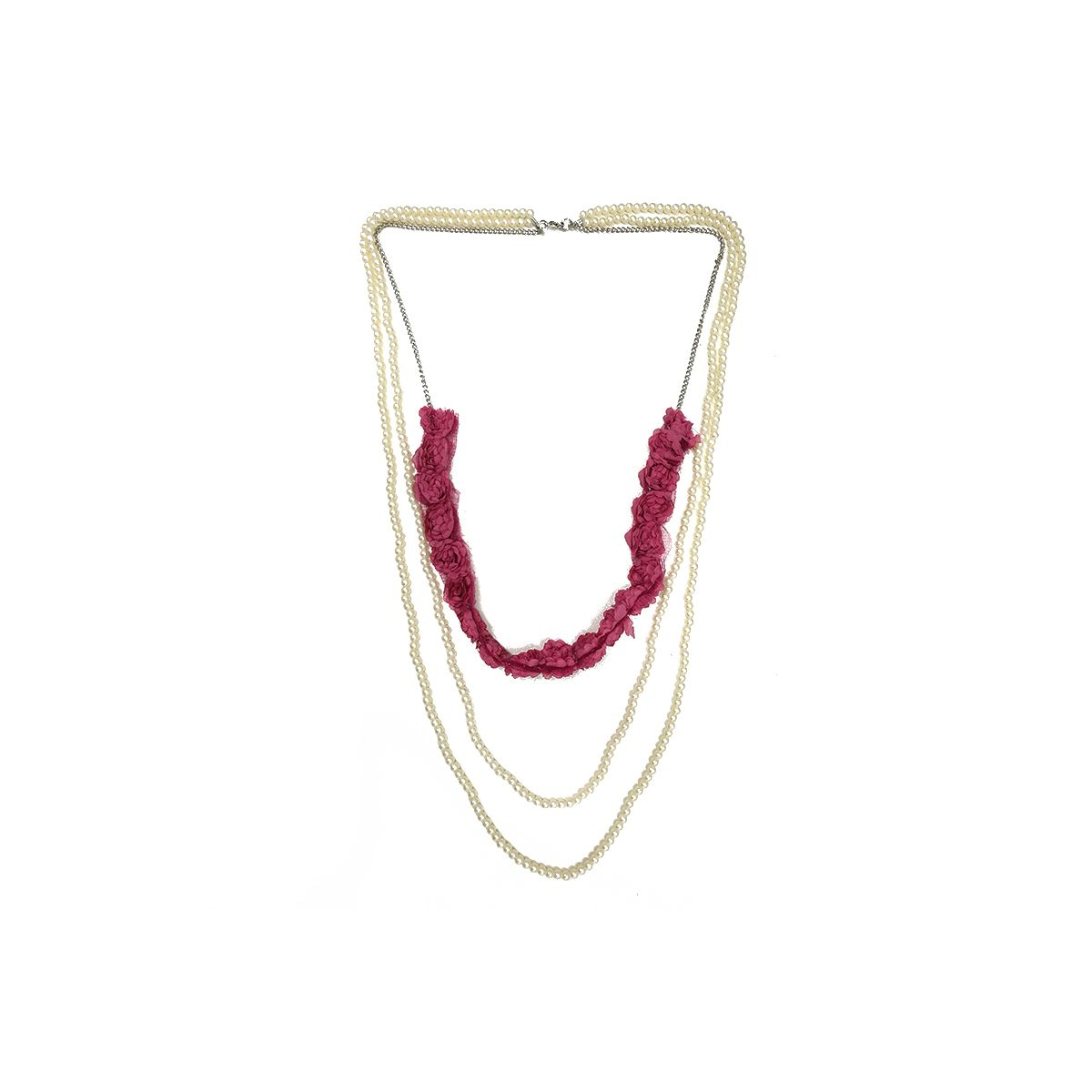Pearl Triple Chain Long Necklace - Pink (OLD110132PK)