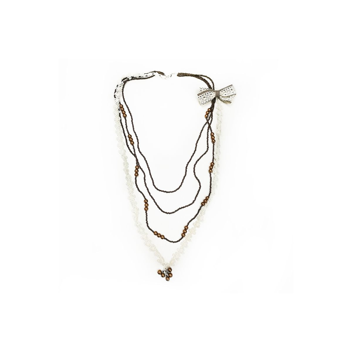 Bow Lace Beads Necklace - White/Brown (OLD110133WB)