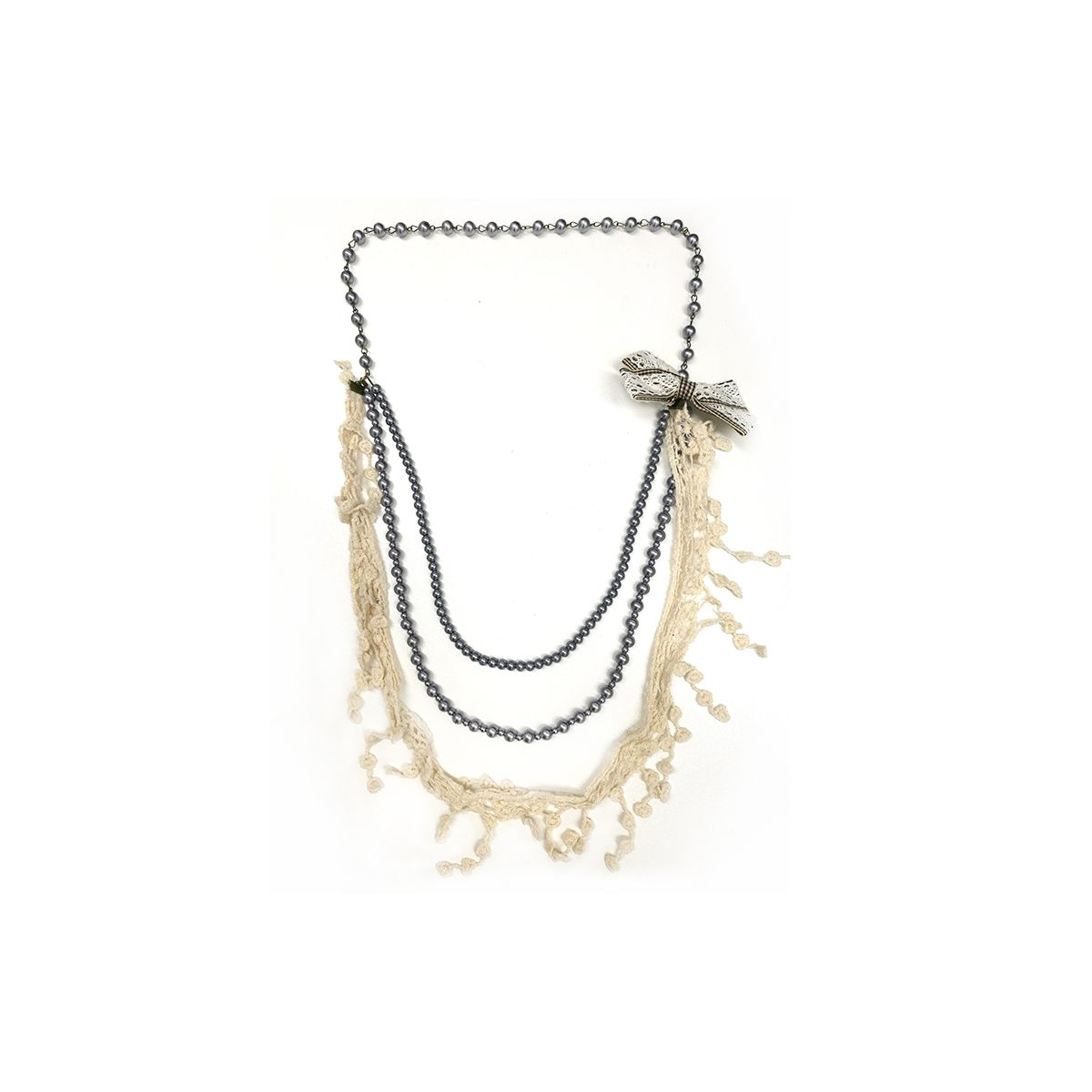 Beads with Lace Bow Necklace - White (OLD110134WB)